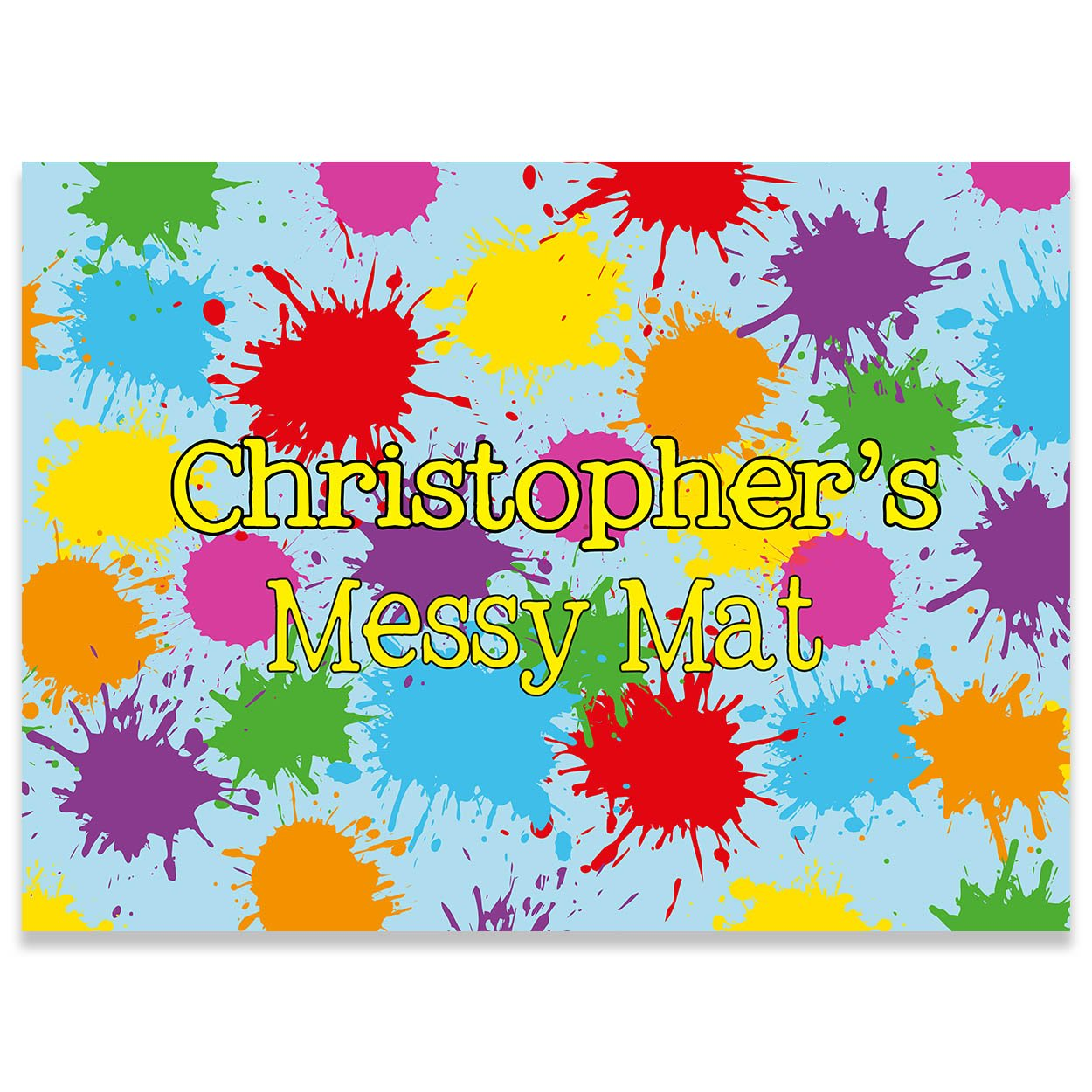 Paper Themes Playdoh Mat Kids personalised Messy Mat Paint sheet Playdough mat Arts and crafts splash mat - Messy Colours Collisons