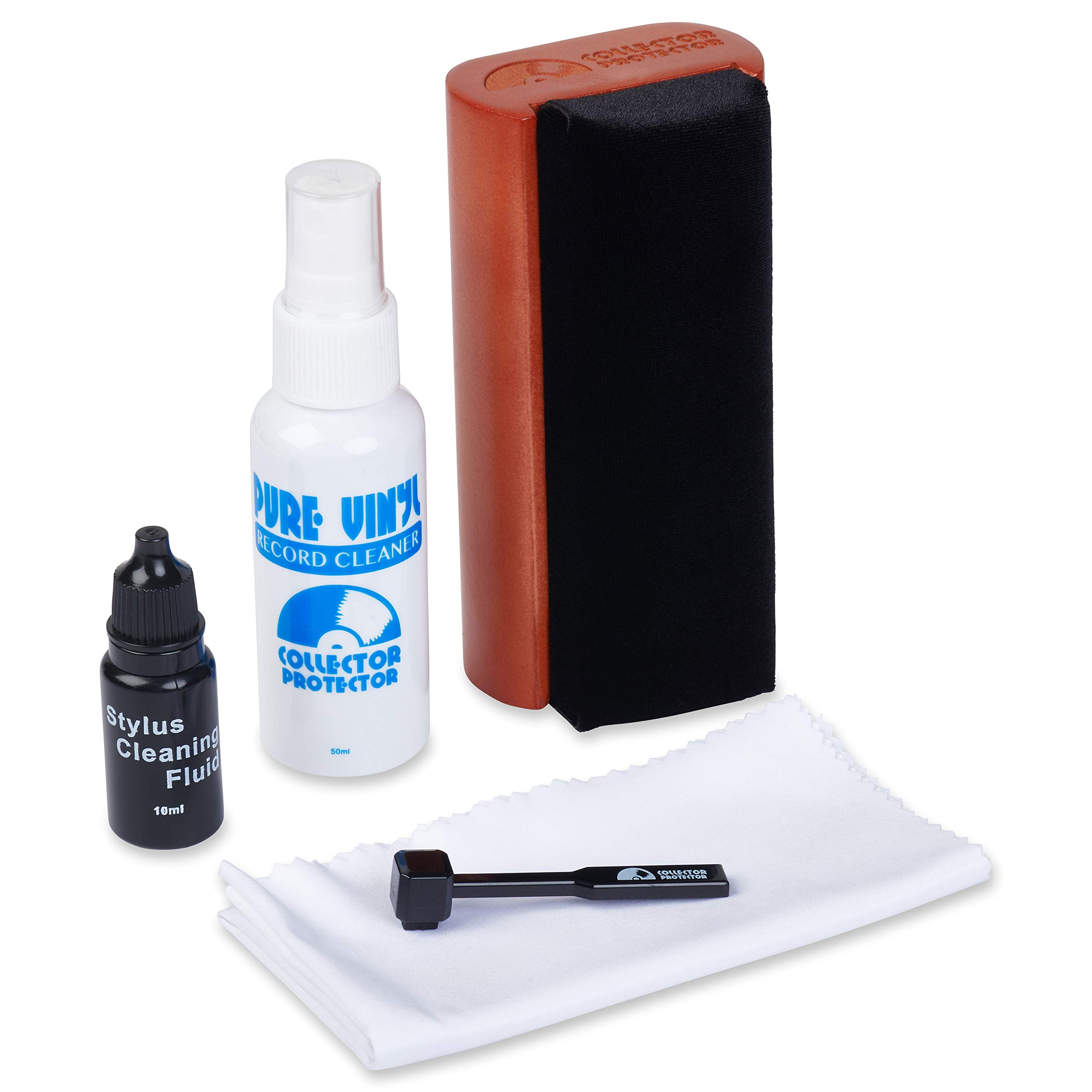 Collector Protector 5-in-1 Vinyl Record Cleaning Kit. Includes Soft Velvet Record Brush, Pure Vinyl Cleaning Solution, Stylus Cleaner & Brush, Microfiber Cloth & Storage Pouch by Collector Protector (Image #1)