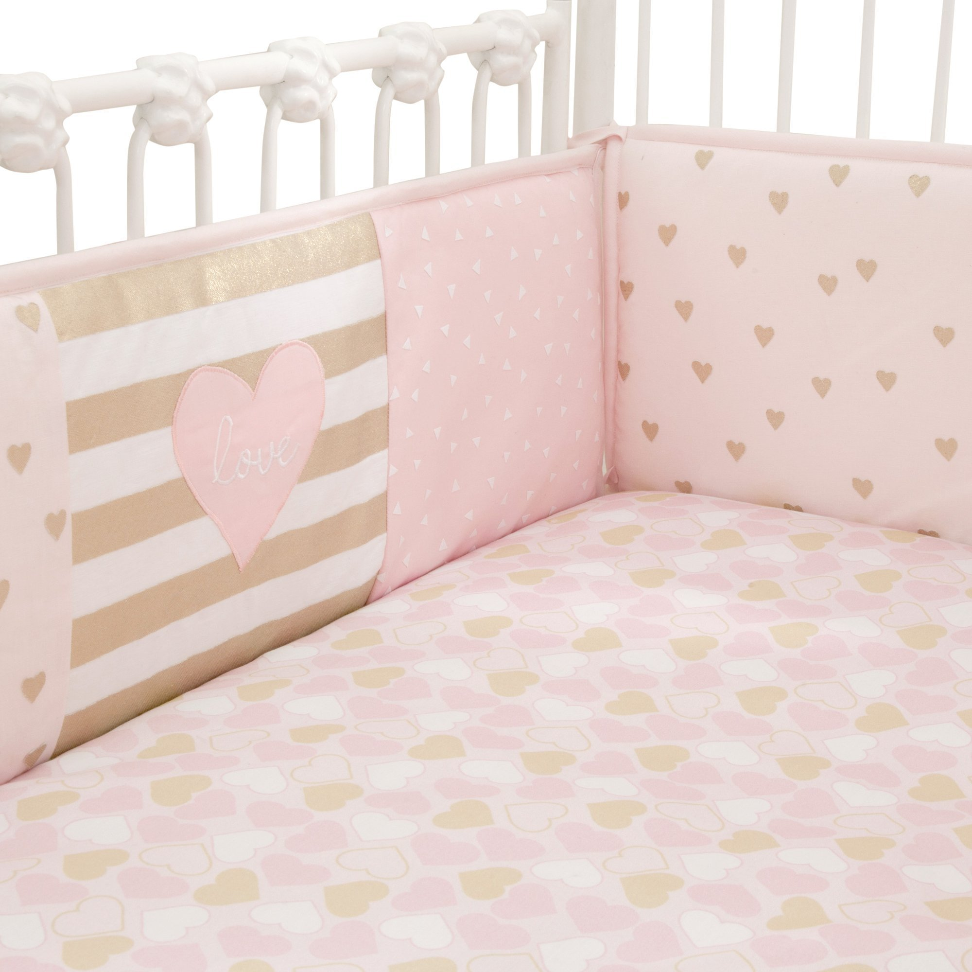 Lambs & Ivy Baby Love 4-Piece Crib Bumper - Pink/Gold/White with Hearts by Lambs & Ivy (Image #2)