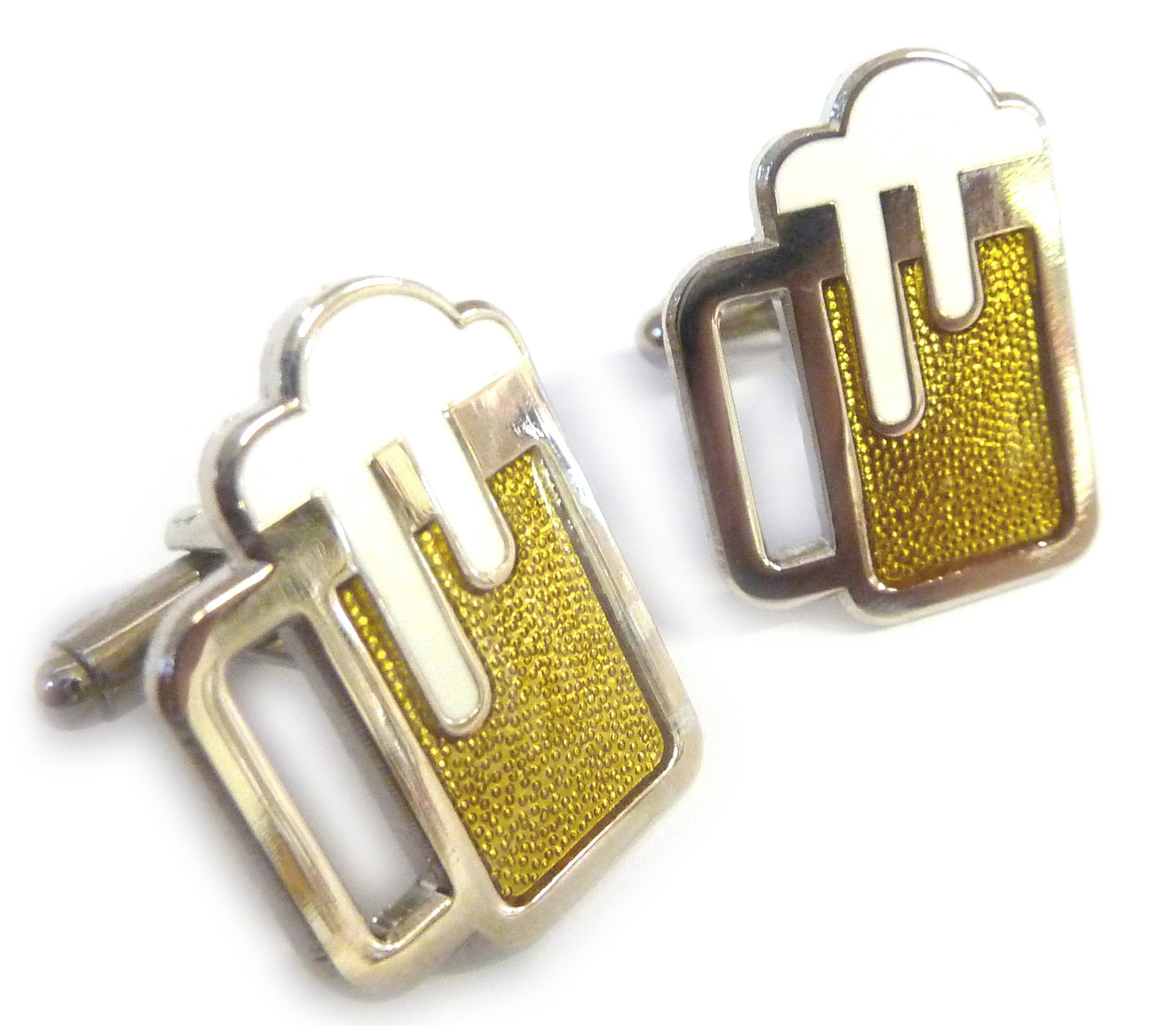 Beer Mug Glass Ale Amber Brew Brewery Cufflinks Cuff Links Set Pair