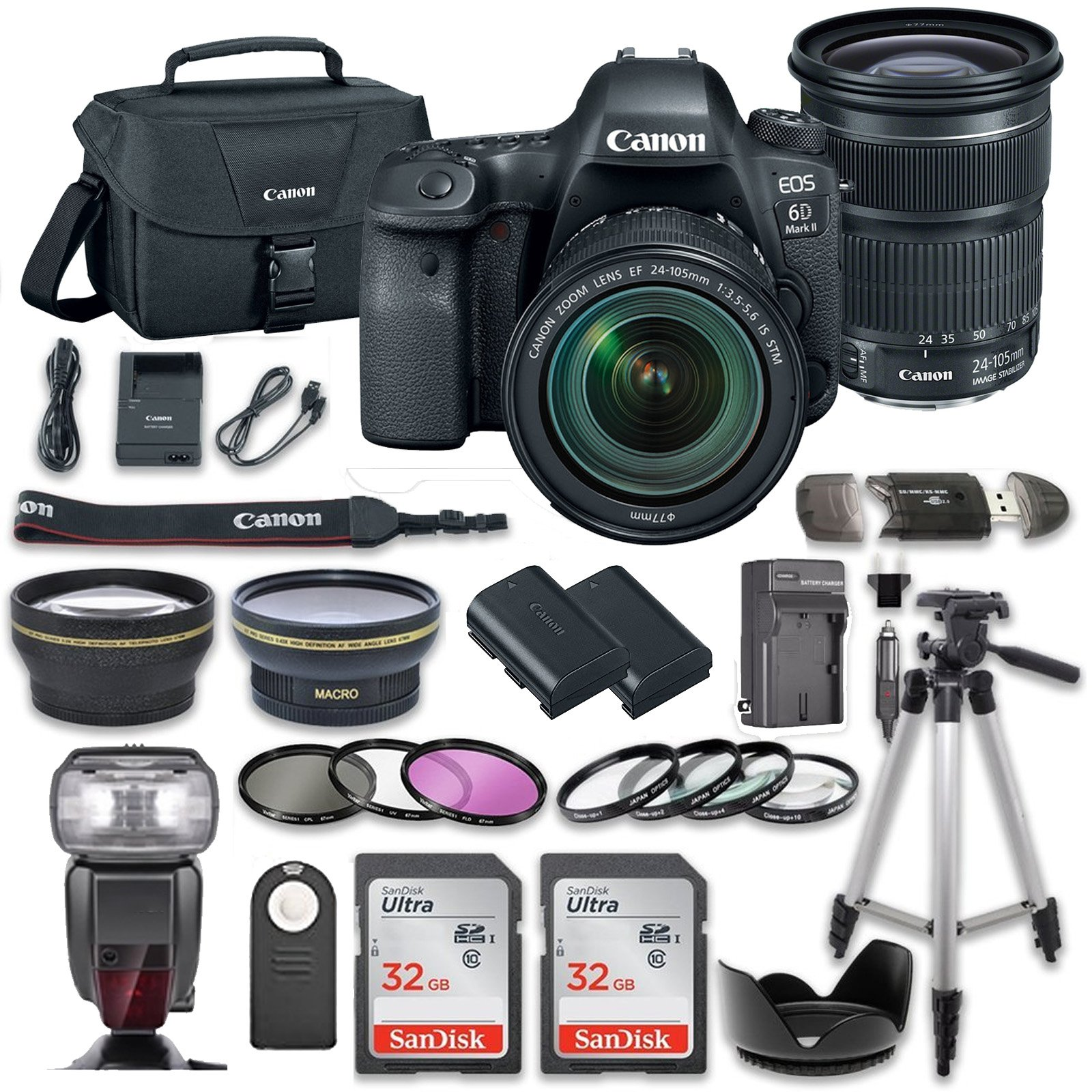 Canon EOS 6D MARK II DSLR Camera Bundle with Canon EF 24-105mm f/3.5-5.6 IS STM Lens + 2pc SanDisk 32GB Memory Cards + Premium Accessory Bundle Kit (19 Items) by Canon