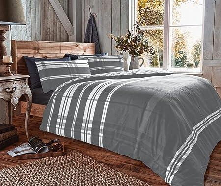 EDS 100% BRUSHED COTTON FLANNELETTE DOUBLE BED DUVET COVER, FLANNEL DUVET  SET REVERSIBLE ,