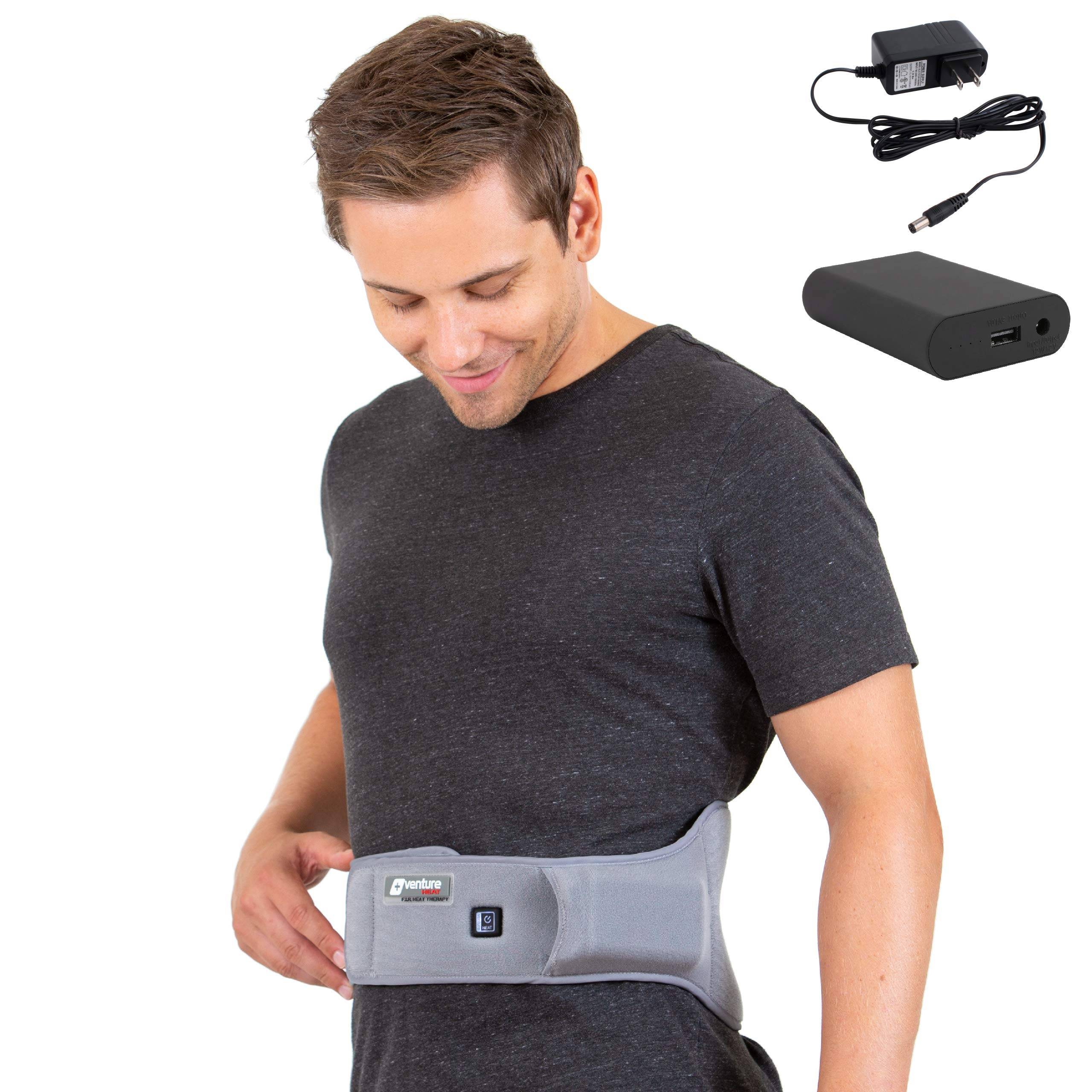 [Battery Bundle] Venture Heat Far Infrared Heated Back Wrap for Lower Back Pain - Lumbar Heat Therapy Pad Brace for Pain Relief, Stomach Cramps, Abdominal Pain