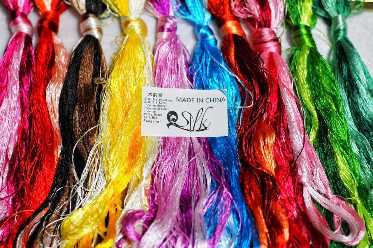 Hand dyed embroidery silk threads.