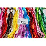 2500 Silk Art China Natural 100% Mulberry Silk Floss Handmade Embroidery Woven Jewelry Threads DIY Kits 50 Colors 336 feet SIX001