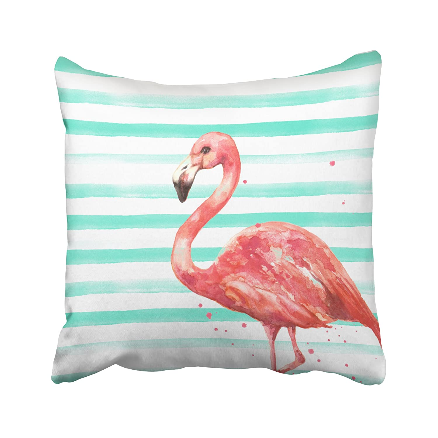 18X18 inch Fashion Style Zippered Cushion Pillow Cover ONELZ Flamingo with Stripes Square Decorative Throw Pillow Case