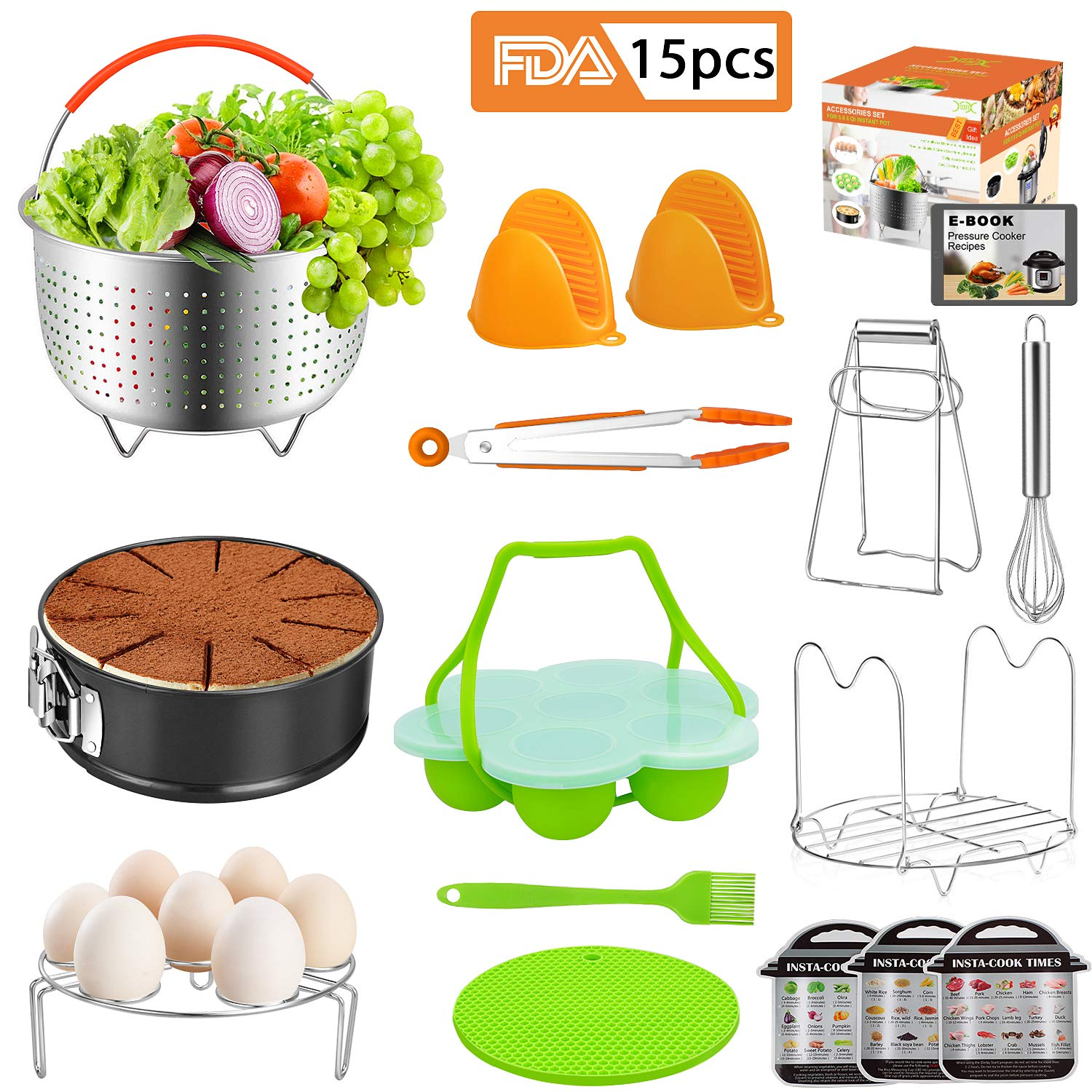 Instant Pot Accessories 15Pcs Set Compatible with Pressure Cooker 5,6,8 Qt, Steamer Basket,Springform Pan,Steamer Rack, Egg Bites Mold,Tongs, Silicone Oven Mitts, Magnetic Cheat Sheets(BONUS RECIPES)