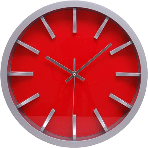 kieragrace Watch Wall Clock, 12-Inch, Red Face with 3D Dial