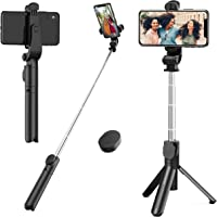 Waulnpekq Tripod Mini Extendable Stand Phone Selfie Stick with Bluetooth Remote Shutter (for iPhone x/xs/xr/7 8 11/Samsung Galaxy s8 9/Huawei/Google/Xiaomi/More)
