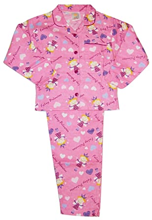 00af2f5d3 Girls Princess Fairy Pyjamas Flannelette Winceyette Pink 2-3 3-4 5-6 Years  (3-4 Years): Amazon.co.uk: Clothing