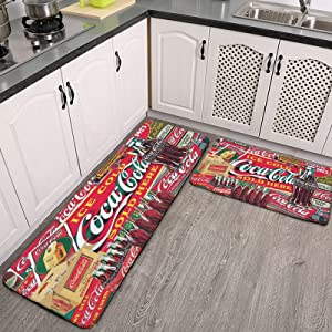 Coca_Cola Red 2 Pieces Kitchen Flannel Rugs and Mats Set Water Absorb Non-Slip Kitchen Carpet Washable Microfiber Bathroom Mat Doormat Carpet