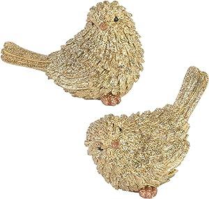 Napco Whimsical Goldtone Vintage Birds 3.5 x 3.75 Acrylic Decorative Figurine, Set of 2