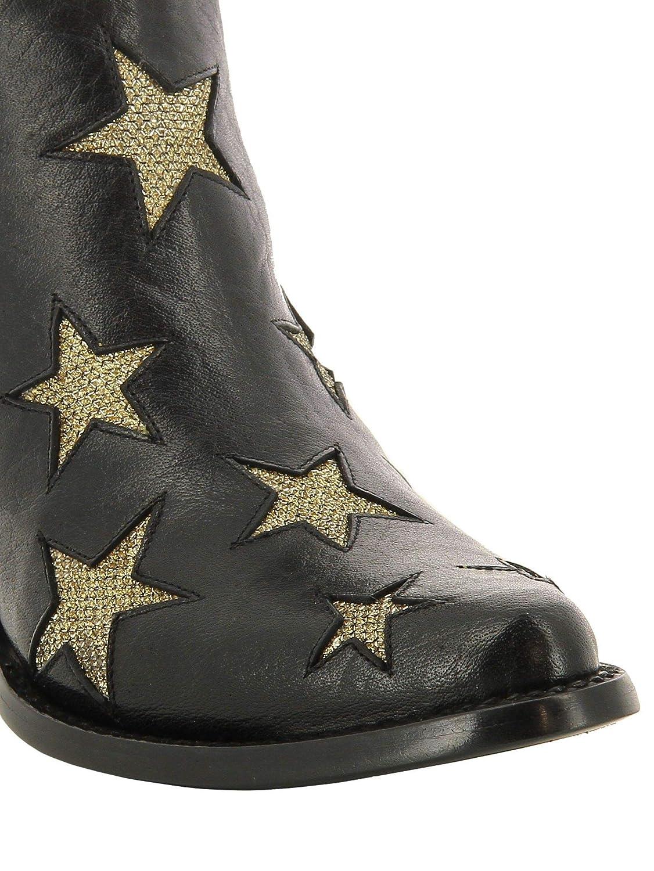 Mexicana Mujer BL24061LB Negro/Oro Cuero Botines: Amazon.es: Zapatos y complementos