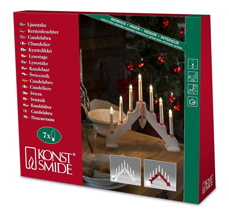 Konstsmide legno candeliere con un cuore in metallo e tessuto anelli, 7lampadine trasparenti, 230V, interno, cavo bianco laccato 1059–210 1059-210