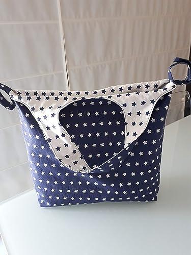 Bolso Panera Cambiador Carrito Silla Paseo Reversible de Tela Estrellas Blanco y Azul marino Navy