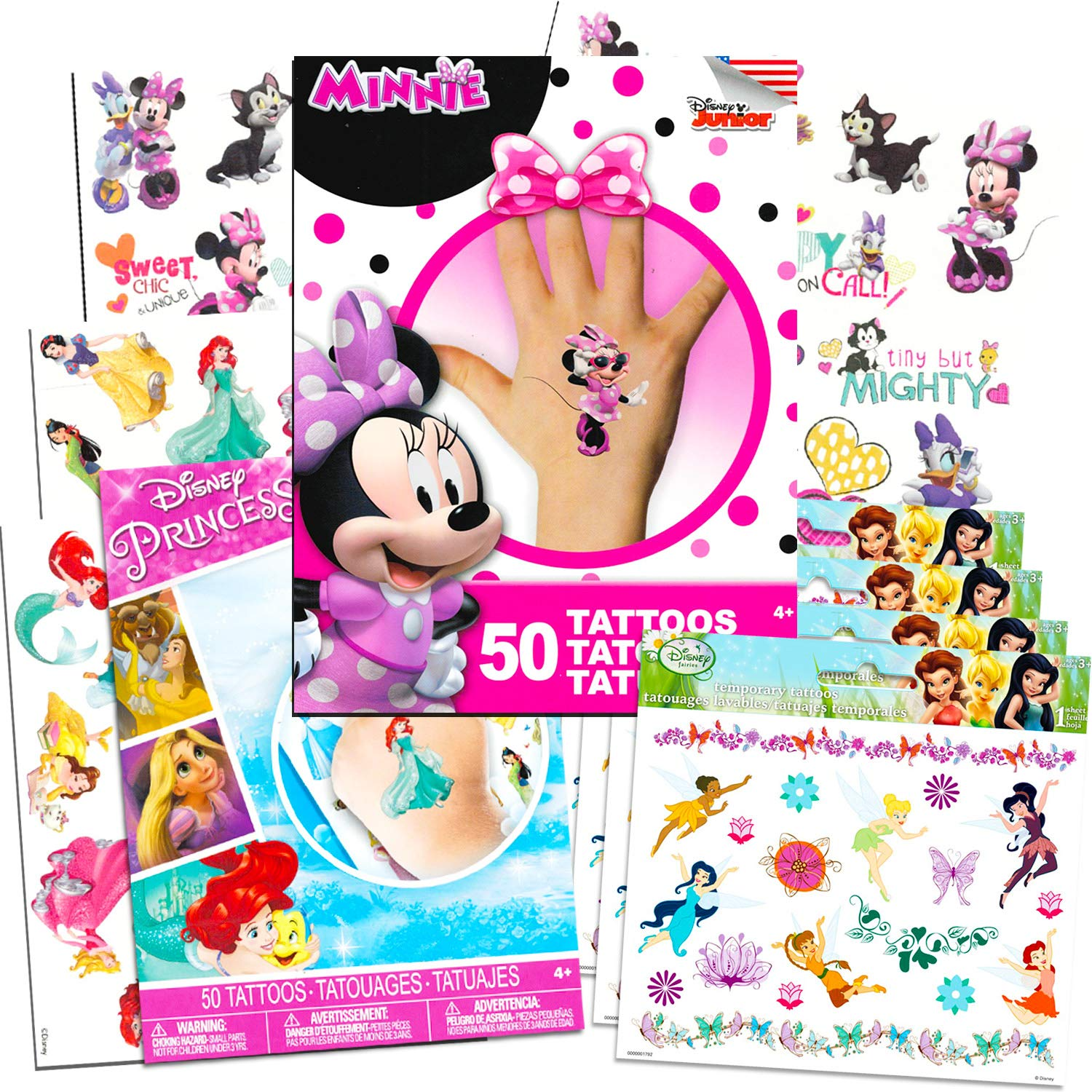 Disney Tattoos Party Favor Set For Girls Over 175 Temporary Tattoos Featuring Minnie Mouse Disney Princess and Disney Fairies 12 Temporary Tattoo Sheets