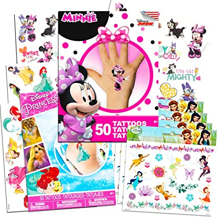 Buy Disney Tattoos Party Favor Set For Girls Over 150 Temporary ...