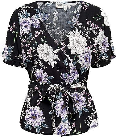 JACQUELINE de YONG Camisa Cruzada Negra para Mujer con Flores 15199426-NEGRO: Amazon.es: Ropa y accesorios