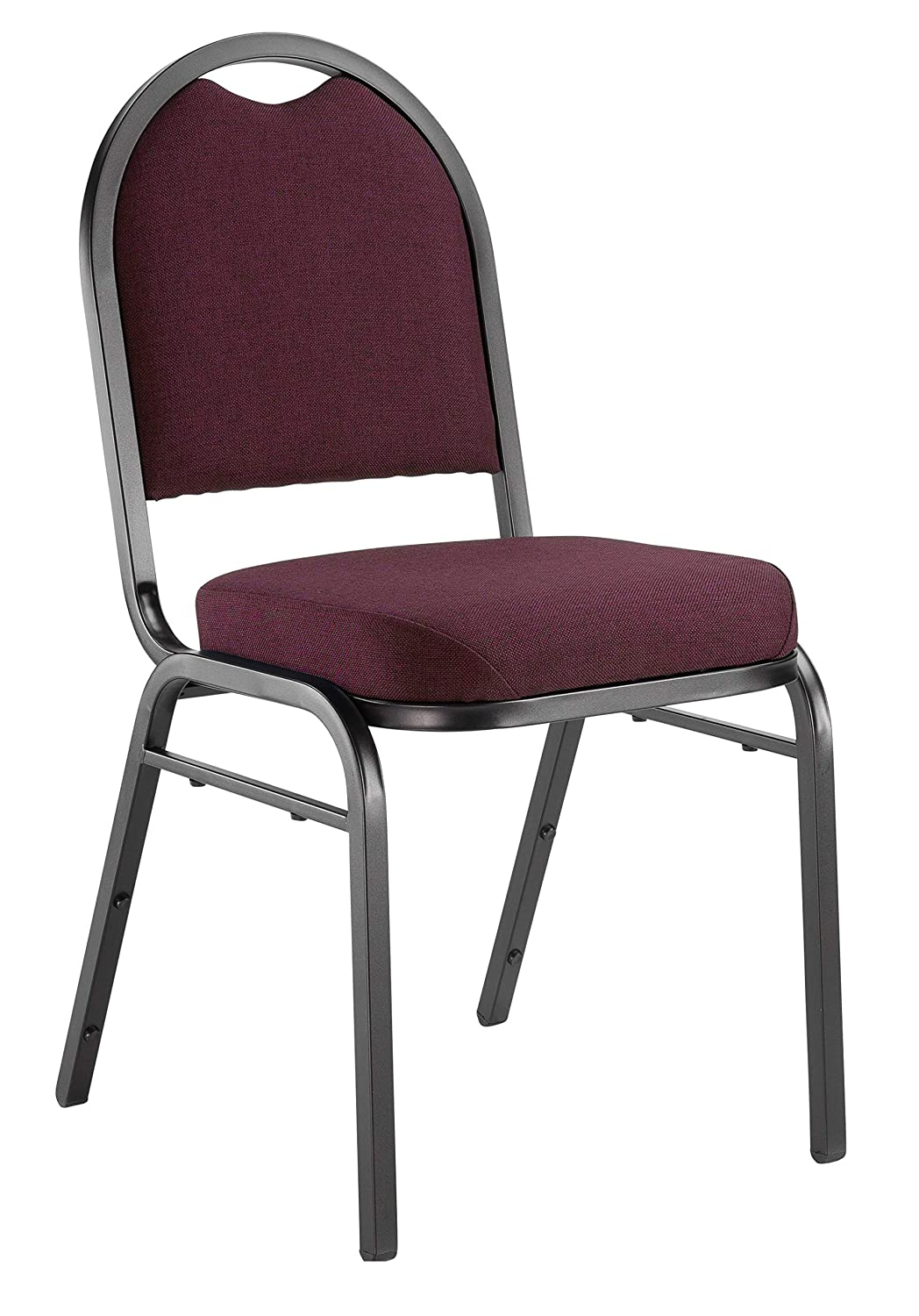 """NPS 9258-BT Fabric Dome Back Stack Chair with Steel Black Sandtex Frame, 300-lb Capacity, 18"""" Length x 20"""" Width x 34"""" Height, Rich Maroon"""