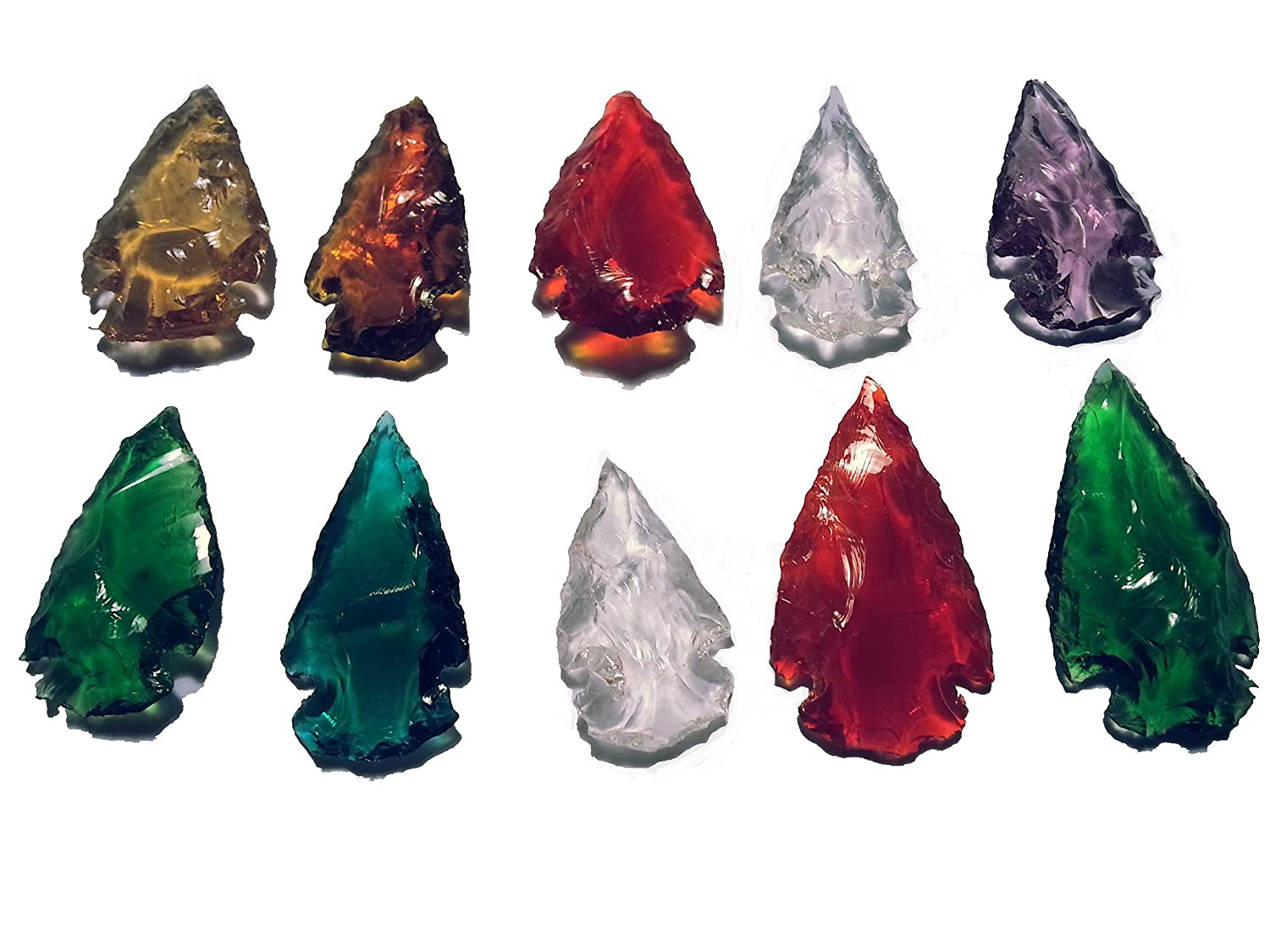 10 dyed arrowheads from colored glass Animus Imperat