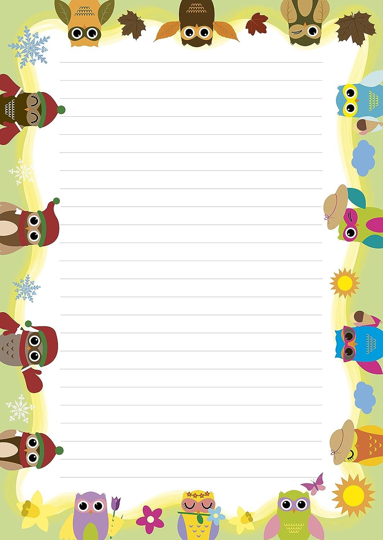 2 St/ück Schreibbl/öcke 1x bunte Tiere 1x Eulen Vierjahreszeiten je 24 Blatt Format DIN A4 mit Deckblatt 7020+7330