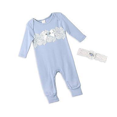 dbcf0400bdf8 Amazon.com  Tesa Babe Lace Floral Romper + Headband Set for Newborns ...