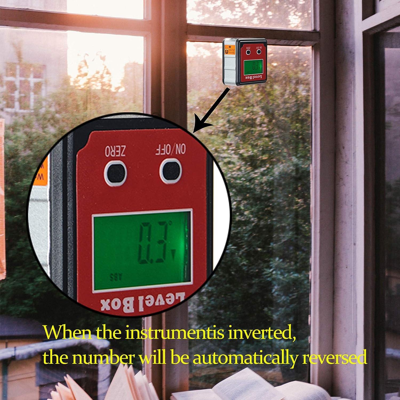 color rojo Transportador de /ángulos resistente al agua incluye pantalla LCD digital con imanes medidor de inclinaci/ón Beslands Bevel Box