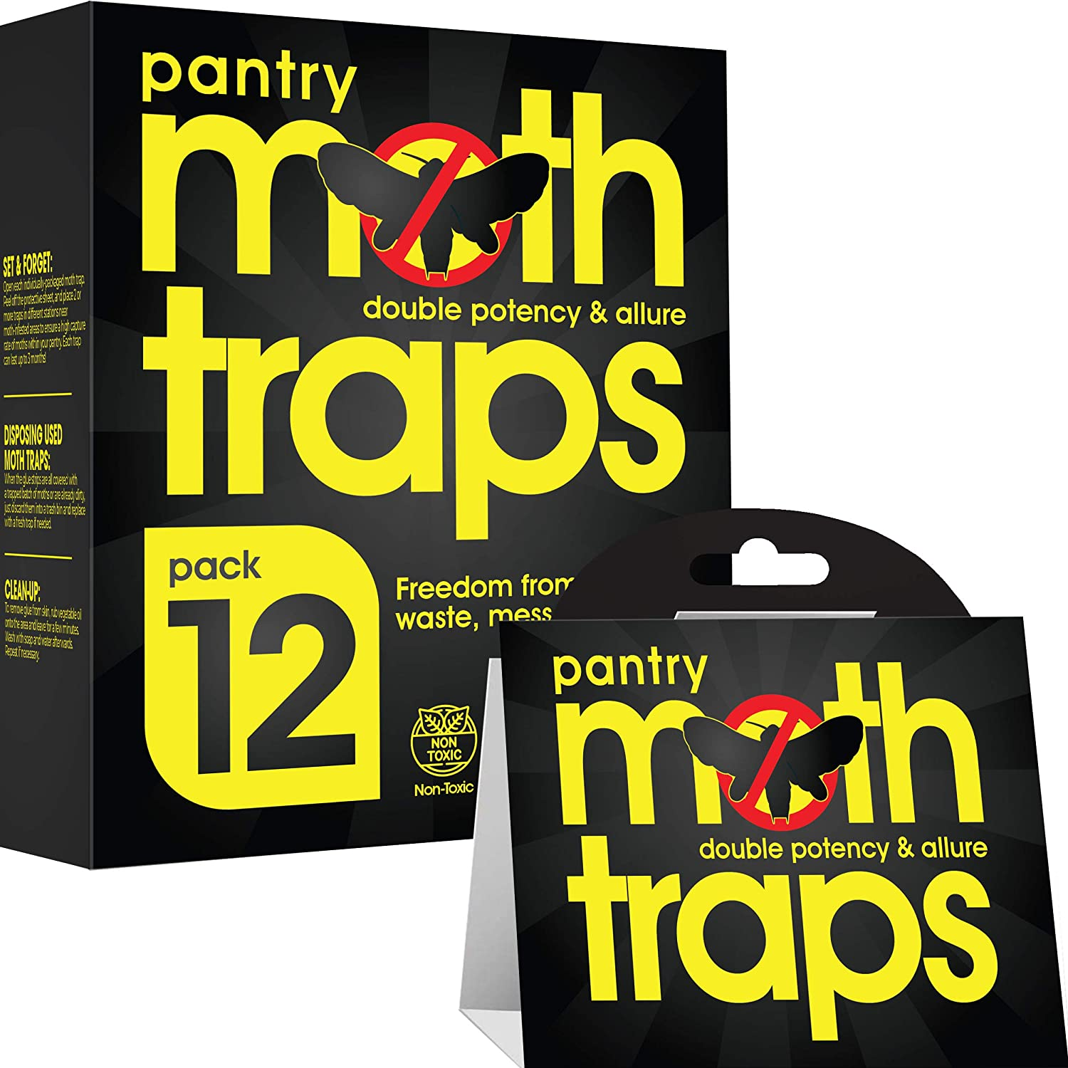 Pantry Moth Trap (12-Pack), Moth Traps, Moth Traps for Clothes Closets (Innocuous ,Safe, Potent), Moth Killer, Pantry Moth Traps With Pheromones Prime, Clothes Moth Trap (Capture All Types of Pests)