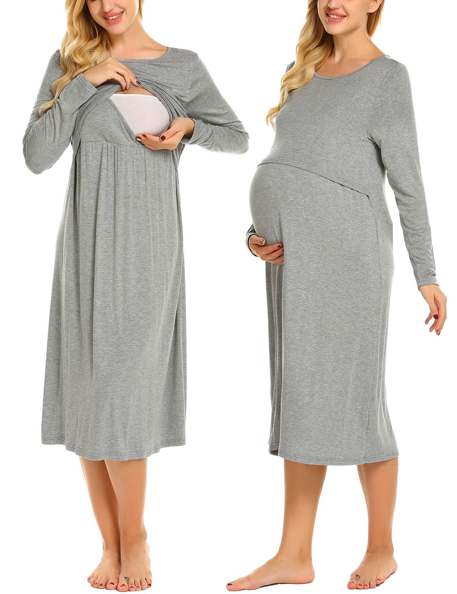 Ekouaer Womens Layered Maternity Dress Empire Waist Nursing Breastfeeding Dress
