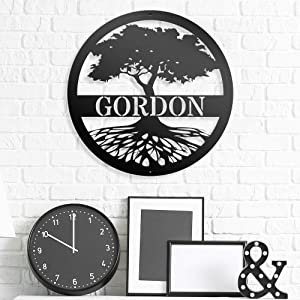 Custom Name Sign Tree of Life - Steel Roots Decor - Personalized Steel Decoration - Family Name Sign - Metal Tree Wall Decor - Custom Family Tree Metal Sign - Perfect for Indoor and Outdoor Use