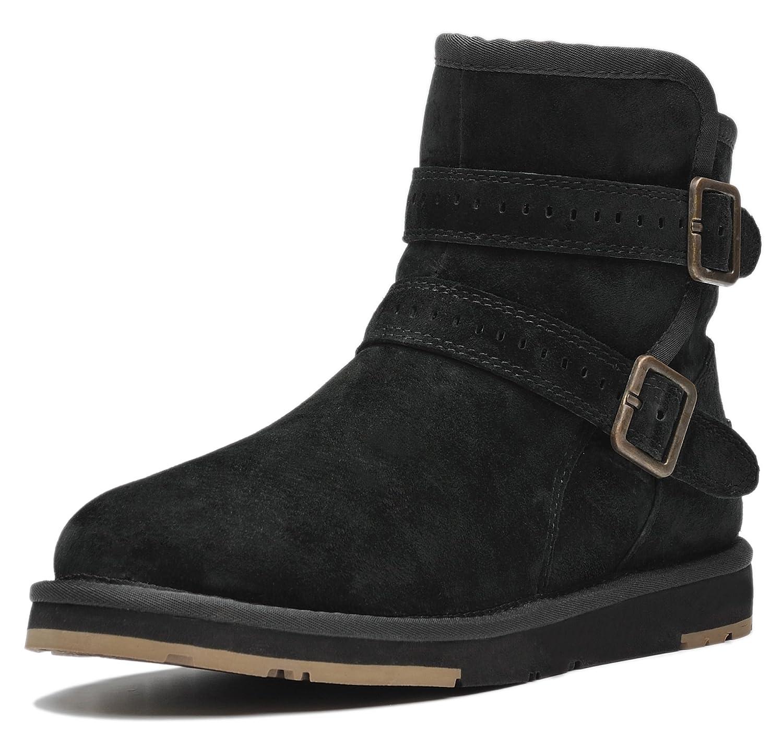 AU&MU Women's Full Fur Sheepskin Suede Winter Snow Boots B073WW7NX9 12 B(M) US|Black
