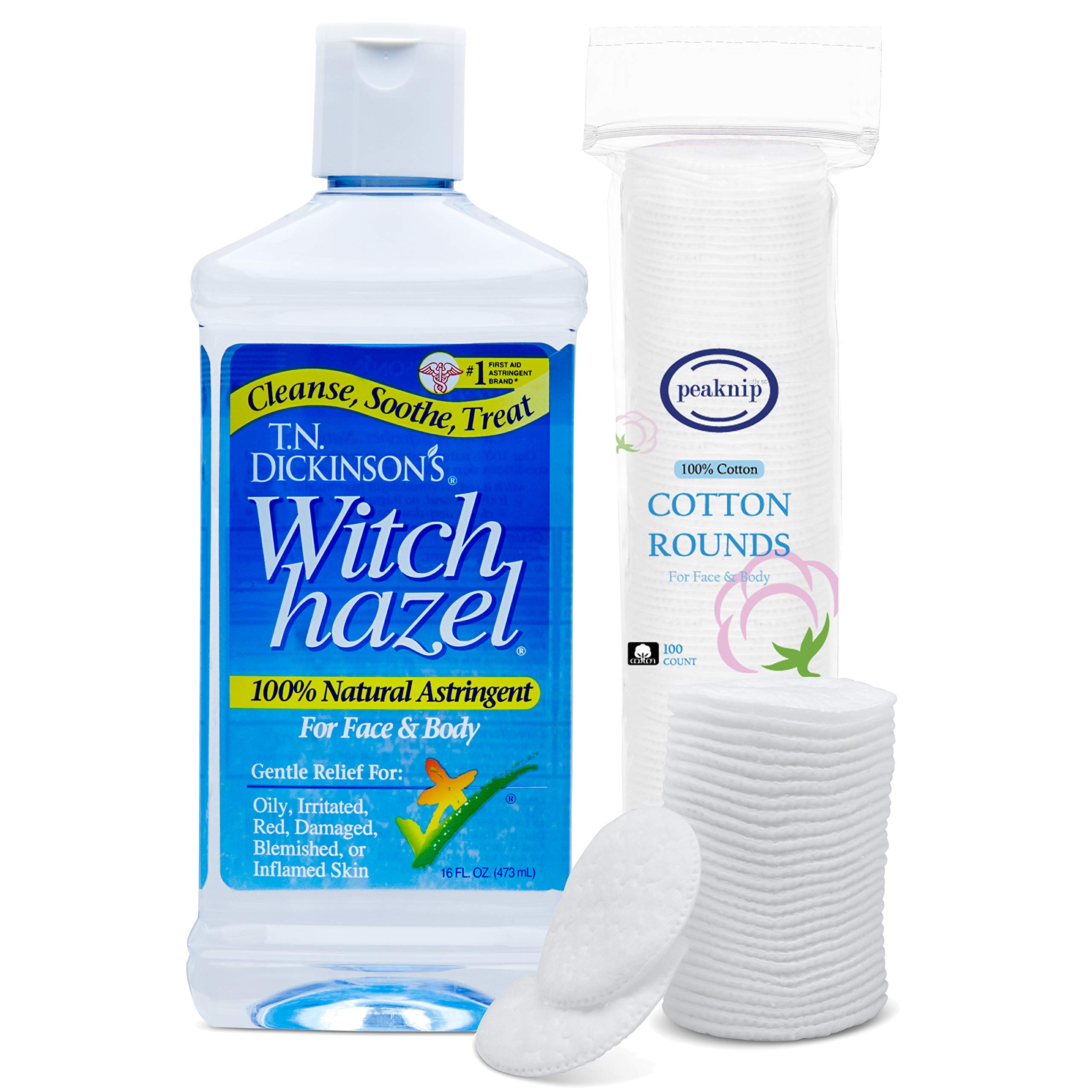 T.N. Dickinson's 16 oz. Witch Hazel 100% Natural Astringent with 100 Pcs. Cotton Rounds by Peaknip