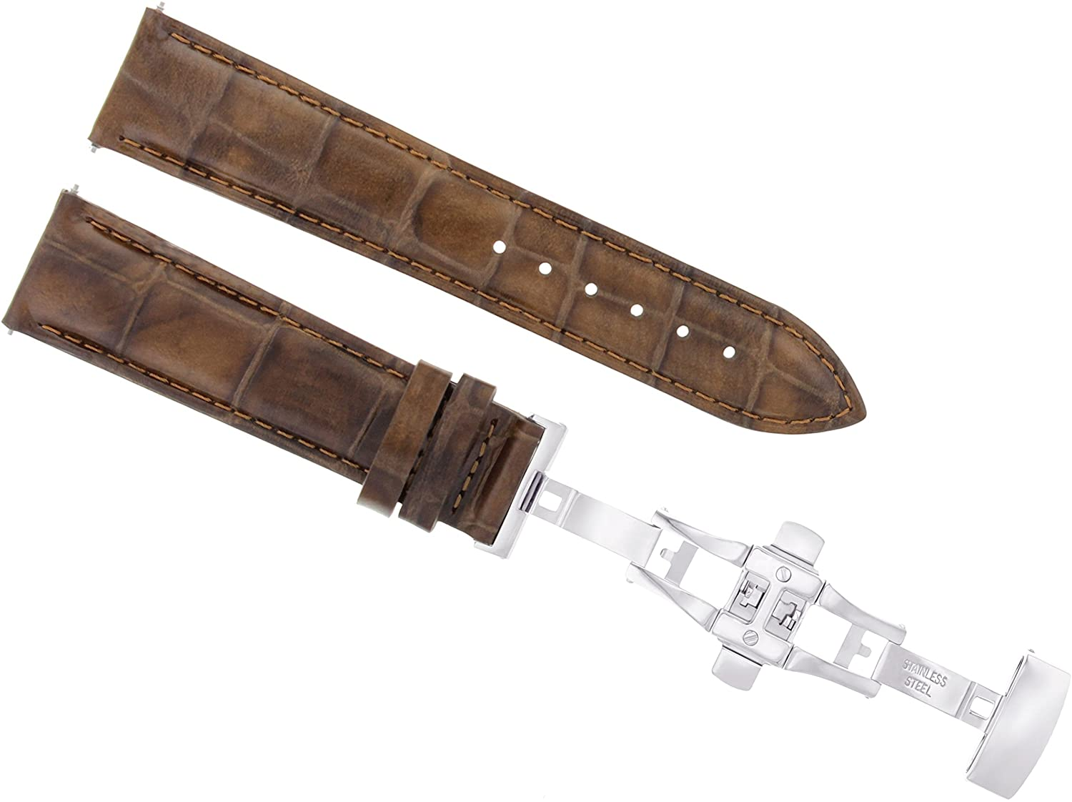 18 mm Leather Watch Band Strap Deployment Claspバックルfor Guess L/Brown 2b