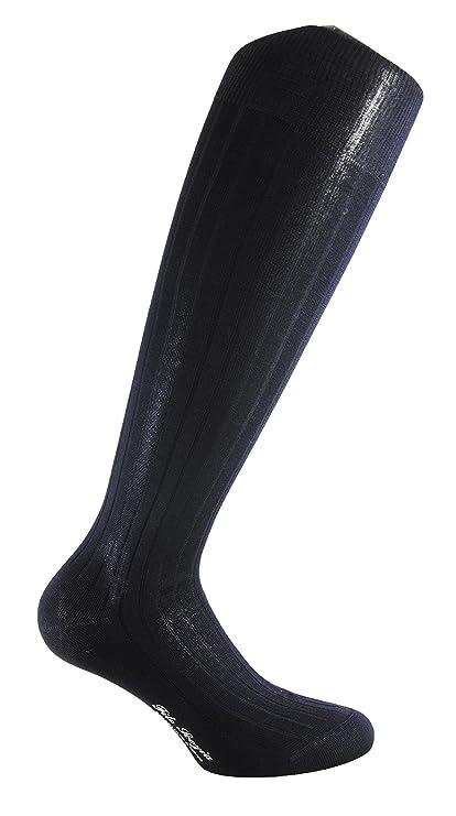 PRESTIGE (3 Pares) Calcetines de hombre largos a canalé hasta la rodilla 100% algodón mercerizado (Hilo Escocia) - MADE in ITALY- (39-41, ...