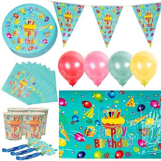 222 Piezas Vajilla Desechable, Artículos de Fiesta Cumpleaños para Niños - 40 Platos de Papel, 40 Vasos, 40 Servilletas, 40 Sombreros Fiesta, 40 ...