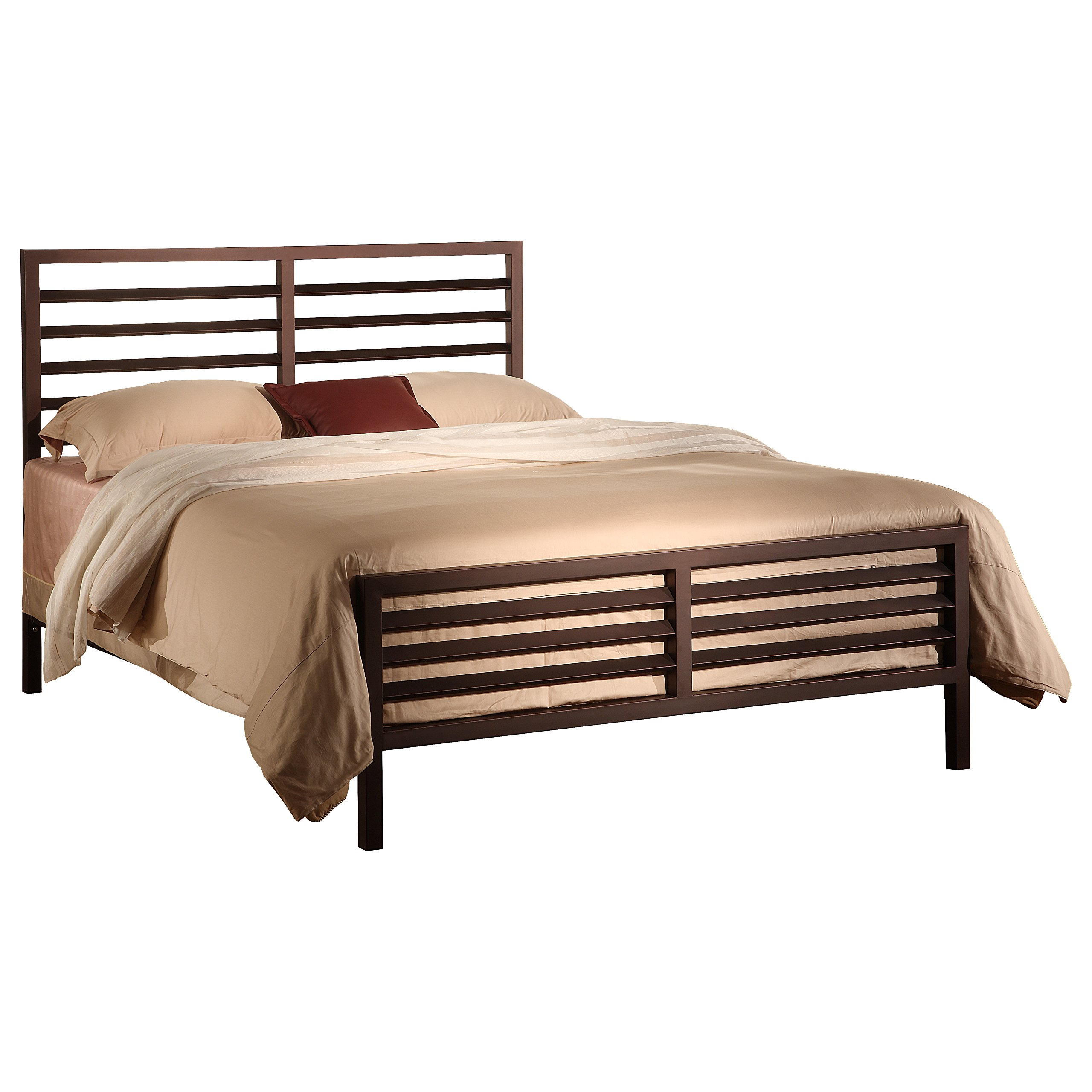 Pilaster Designs - Bronze Metal Annabelle Collection Bed Headboard Footboard Rails & Slats (Queen) by Pilaster Designs