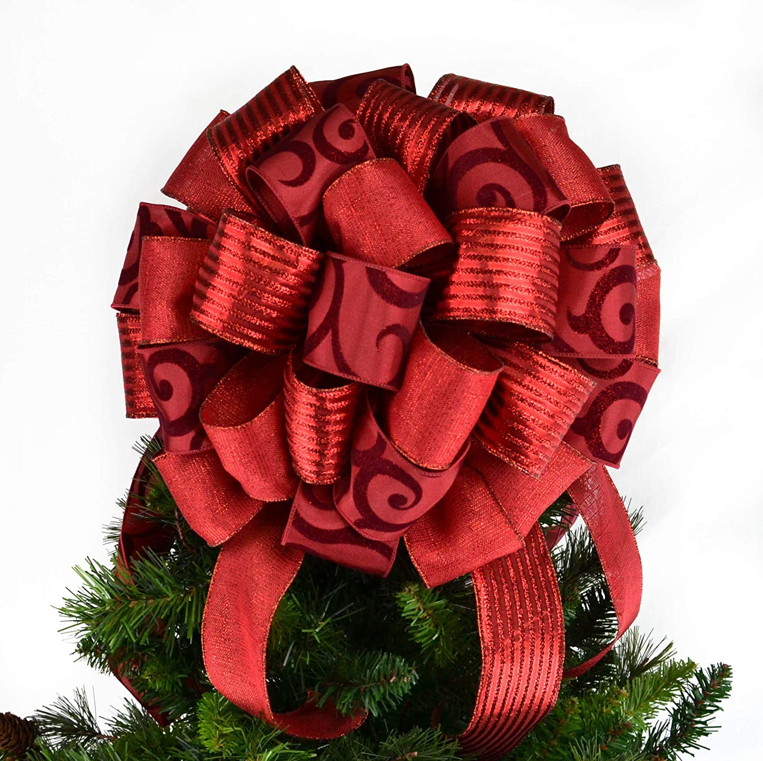 Present Bow Christmas Tree Topper Lantern Bow Christmas Tree Bow Red : TB21