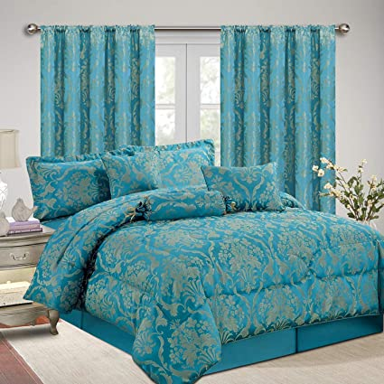 AS Imperial Rooms Luxury Jacquard 7 Piece Bedding with matching Curtains  Bedspreads Comforter Sets Decor Bedroom - (Ruby King/Teal / 90x90 Bed Sets  ...