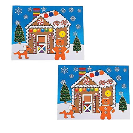 Astonishing Fun Express 12 Large Make A Gingerbread House Sticker Sheets Christmas Craft Activity 8 5 X 11 Download Free Architecture Designs Rallybritishbridgeorg