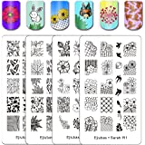 """Ejiubas Double-sided Nail Stamping Plates """"Nature Park"""" Nail Templates Stamp Image Plates for DIY Nail Art Design 2 Count"""