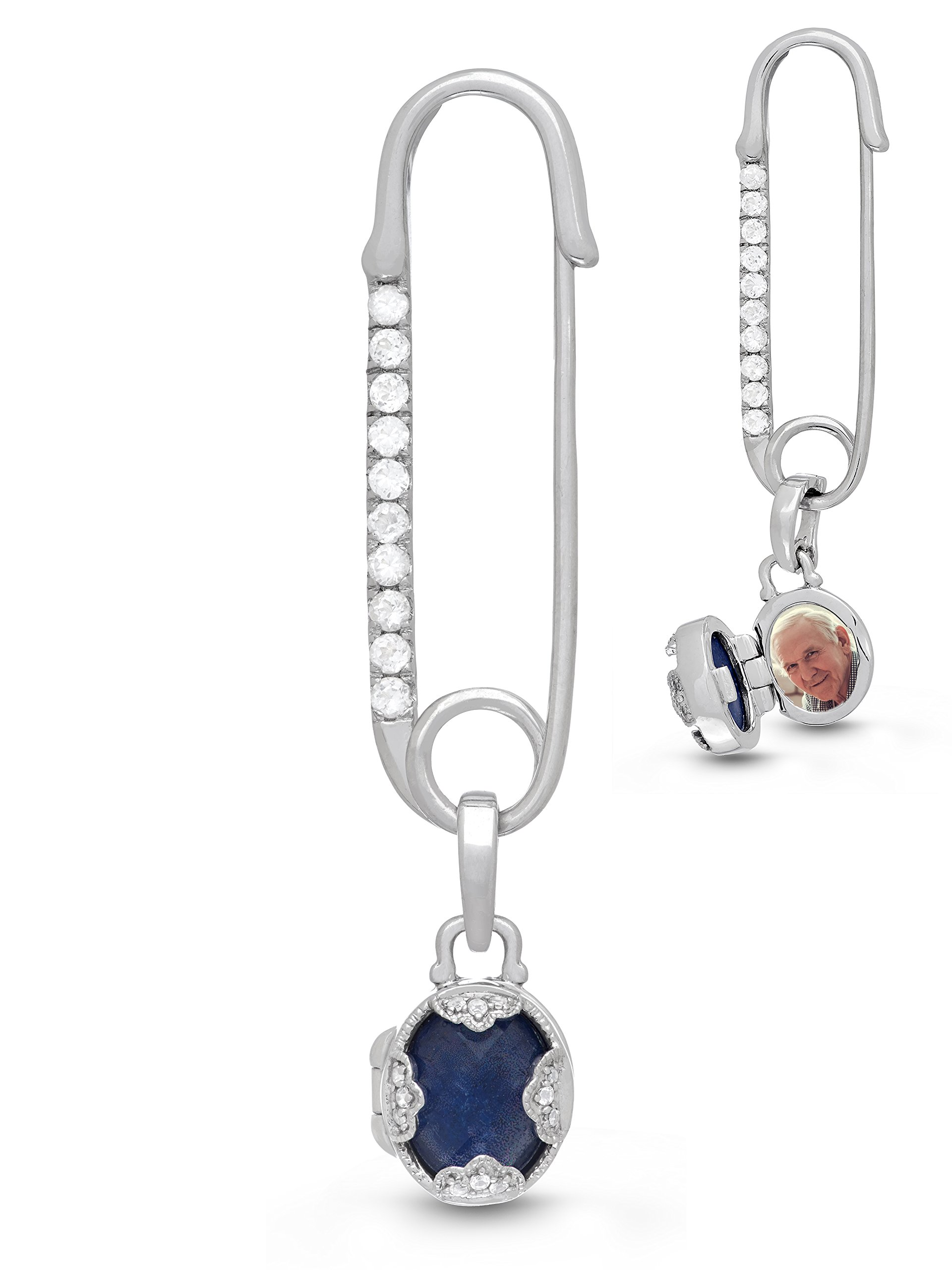 With You Lockets-Sterling Silver-Blue Lapis-Topaz-Custom Photo Locket-Bridal-Brooch-Wedding-Bouquet Pin-The Gloria
