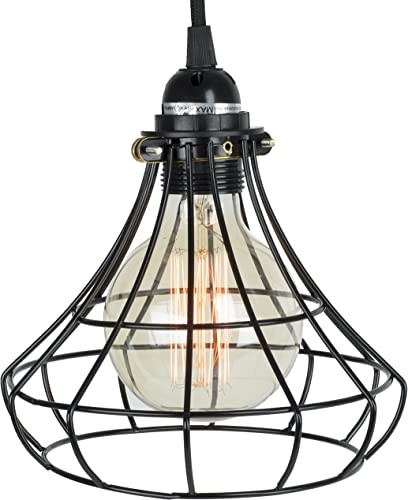 Rustic State Unique Sphere Cage Industrial Style Pendant Lamp by ArtifactDesign Includes 15 Feet Plug-in Fabric Cord with Toggle Switch and Vintage Edison Light Bulb in Black
