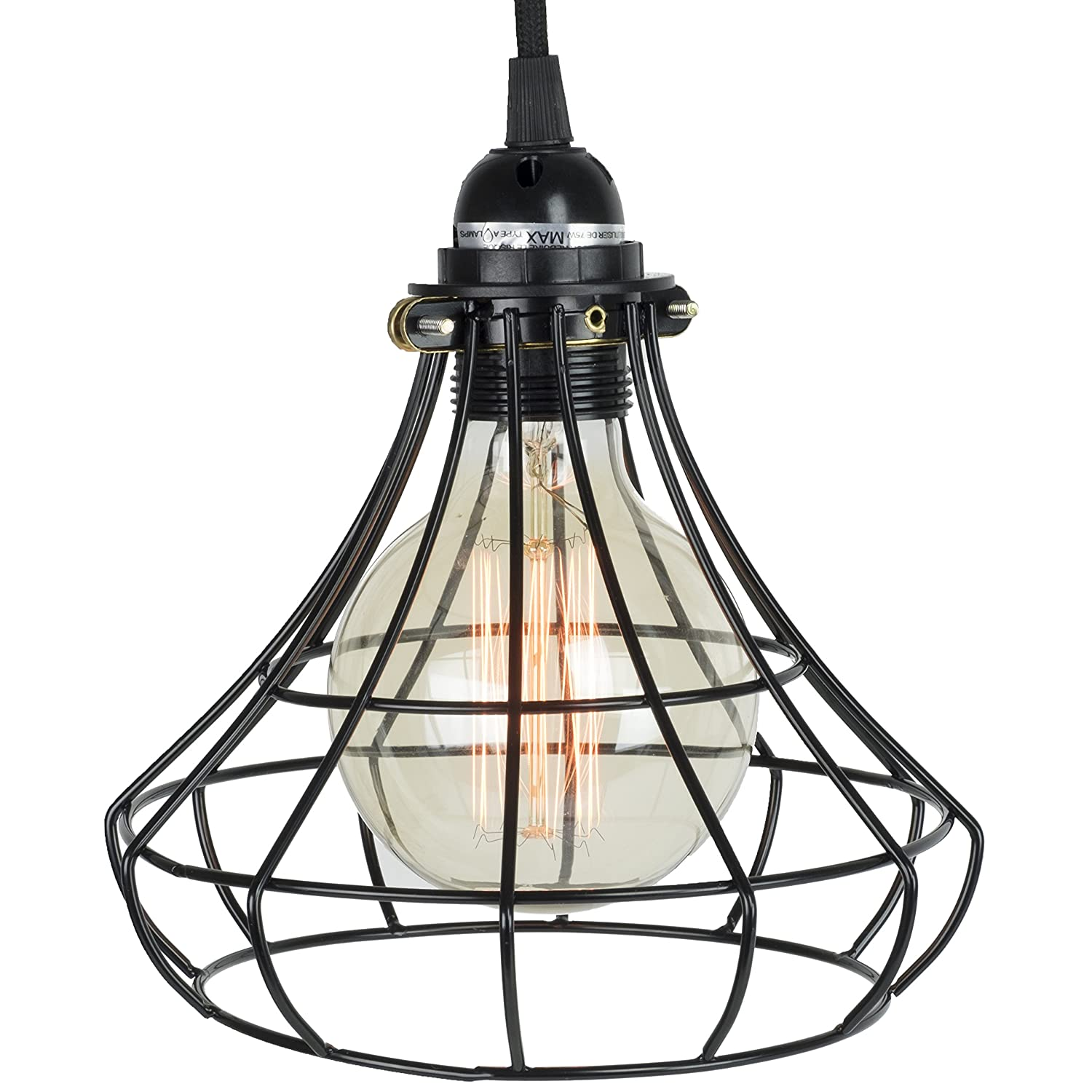 Industrial vintage style light cage lampshade for pendant light industrial vintage style light cage lampshade for pendant light lamps black amazon greentooth Choice Image