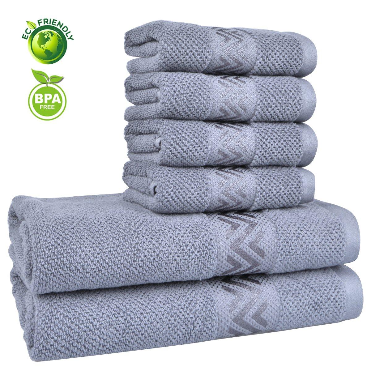 Vanca Bath Towels Sets Cotton Prime Soft Durable Absorbent Large Shower Beach Terry Luxury Classic Design Circlet Wave Stripe Kids Towel (Blue Grey)