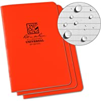 "Rite in the Rain Weatherproof Stapled Notebook, 4.625"" x 7"", Orange Cover, Universal Pattern, 3 Pack (No. OR71FX)"