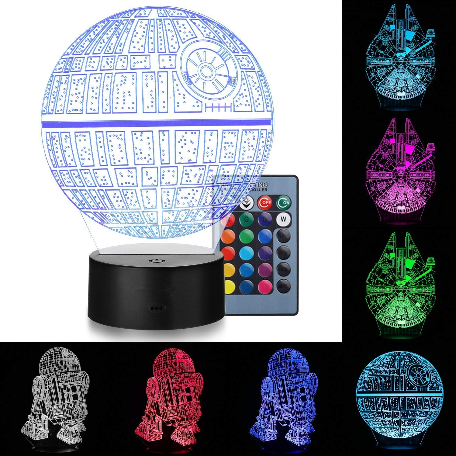 LED 3D Lamp Illusion Star wars Night Light ,star wars decor,four Pattern and 7 Color Change Decor Lamp - Perfect Gifts for Kids CHILDREN Men Women Teens,and Star Wars Fans,Bedroom Decoration lights MOOKOO