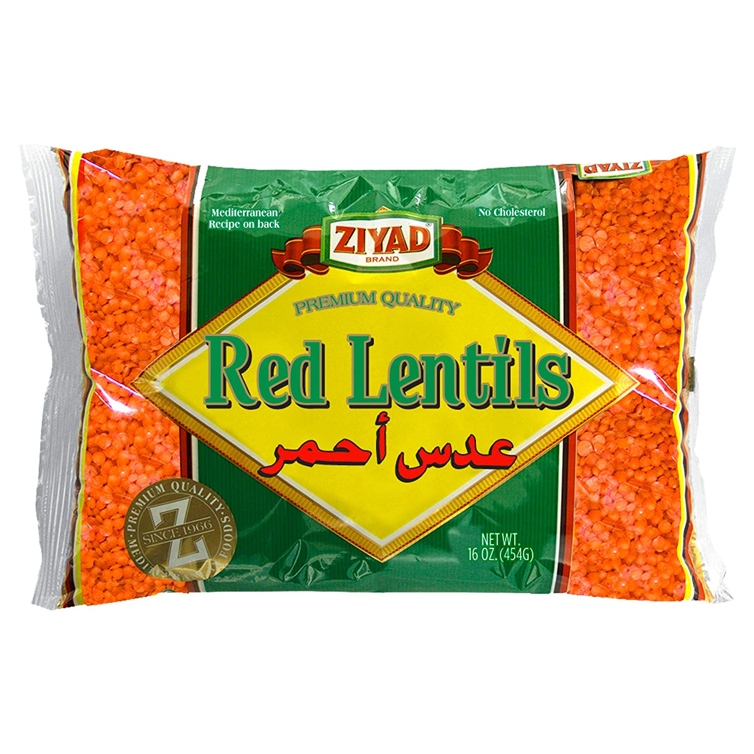 Ziyad Gourmet Red Lentils, Superfood, Ancient Grains, 100% All-Natural, No Additives, No Preservatives, Great Source of Protein, 16 oz Pack of 6