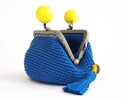 Monedero azul y amarillo con cierre de boquilla: Amazon.es ...