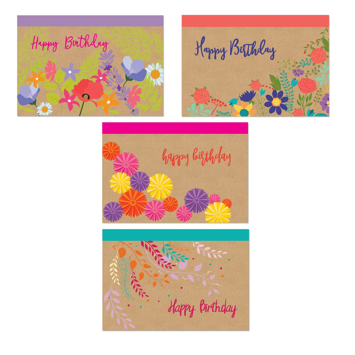 Assorted Happy Birthday Postcards - 4 Fun Birthday Designs - 4'' x 6'' Postcards