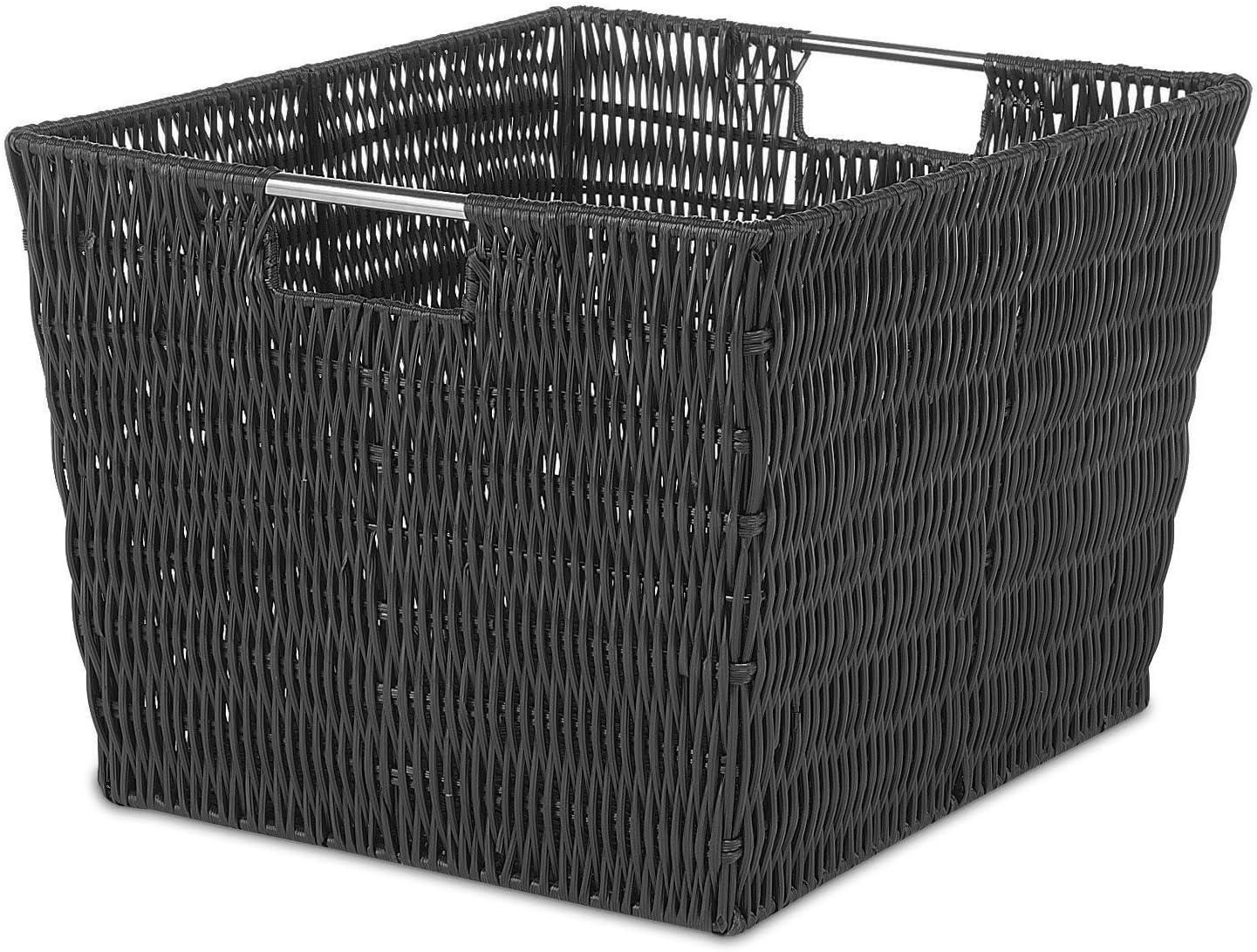 Whitmor Rattique Storage Tote Black